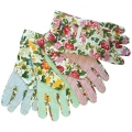 Assorted-Color Floral Canvas Gloves(レディースグローブ)